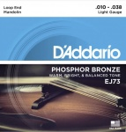 EJ73 Комплект струн для мандолины, фосф.бронза, Light, 10-38, D'Addario