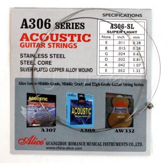 A306-SL-1 Отдельная 1-ая струна для акустической гитары, 011, Alice